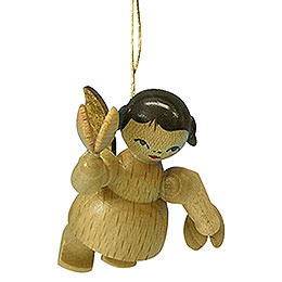 Tree ornament Angel with castanet  -  natural colors  -  floating  -  5,5cm / 2,1 inch