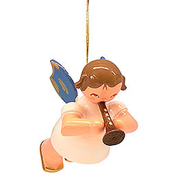 Tree ornament Angel with flute  -  Blue Wings  -  floating  -  5,5cm / 2,1 inch