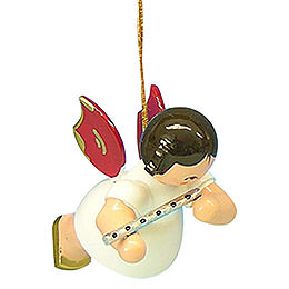 Tree ornament Angel with flute  -  Red Wings  -  floating  -  5,5cm / 2,1 inch
