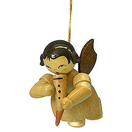 Tree ornament Angel with gemshorn  -  natural colors  -  floating  -  5,5cm / 2,1 inch