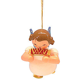 Tree ornament Angel with harmonica  -  Blue Wings  -  floating  -  5,5cm / 2,1 inch