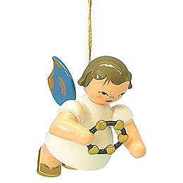Tree ornament Angel with jingle ring  -  Blue Wings  -  floating  -  5,5cm / 2,1 inch