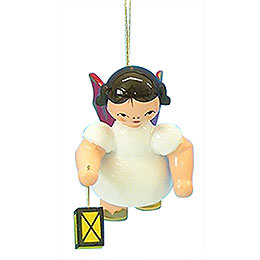 Tree ornament Angel with lantern  -  Red Wings  -  floating  -  6cm / 2,3 inch
