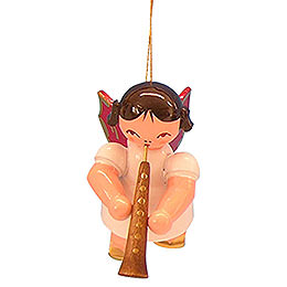 Tree ornament Angel with oboe  -  Red Wings  -  floating  -  5,5cm / 2,1 inch