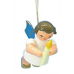 Tree ornament Angel with torch  -  Blue Wings  -  floating  -  6cm / 2,3 inch
