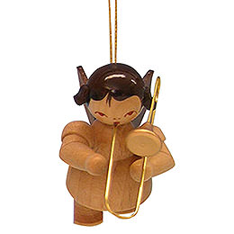 Tree ornament Angel with trombone  -  natural colors  -  floating  -  5,5cm / 2,1 inch