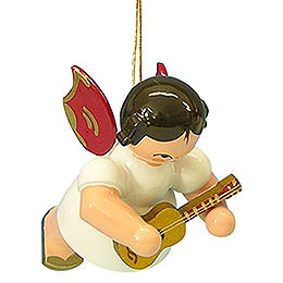 Tree ornament Angel with ukulele  -  Red Wings  -  floating  -  5,5cm / 2,1 inch
