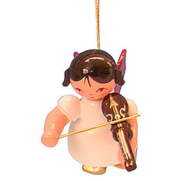 Tree ornament Angel with violin  -  Red Wings  -  floating  -  5,5cm / 2,1 inch