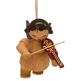 Tree ornament Angel with violin  -  natural colors  -  floating  -  5,5cm / 2,1 inch
