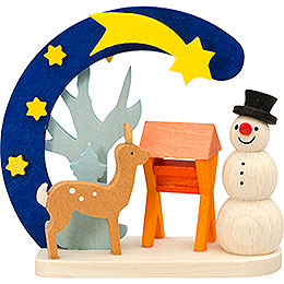 Tree ornament Arch and snowman with deer  -  7cm / 2.8inch