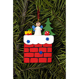 Tree ornament Chimney with Angel  -  5,7 x 7,3cm / 2.2 x 2.9inch