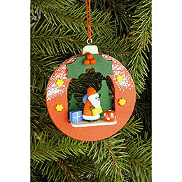 Tree ornament Globe with Santa Claus  -  6,7 x 7,4cm / 2.6 x 2.9inch