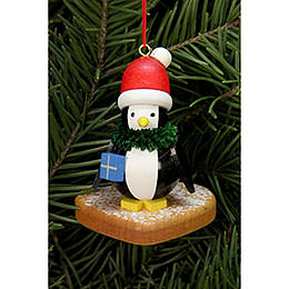 Tree ornament  -  Penguin on Ginger Bread heart  -  5,0 x 6,0cm / 2x2 inch
