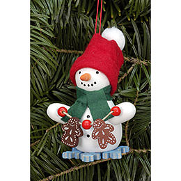 Tree ornament Snowman with Ginger Bread  -  6,0 x 8,0cm / 2.4 x 3.1inch