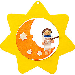 Tree ornament Star - Moon - Angel with guitar  -  8cm / 3.1inch