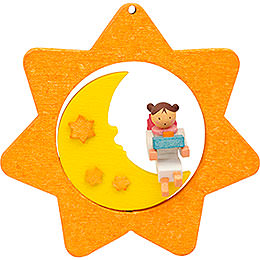 Tree ornament Star - Moon - Angel with little present  -  8cm / 3.1inch
