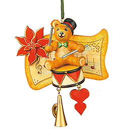 Tree ornament Teddy drummer 7cm / 3inch