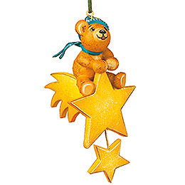 Tree ornament Teddy star rider 7cm / 3inch