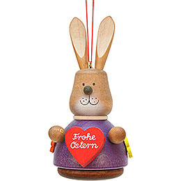 Tree ornament Teeter bunny with heart  -  9,8cm / 3.9inch