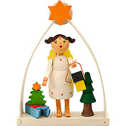 Tree ornament angel in arch with lantern  -  8cm / 3.1inch