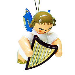 Tree ornament angel with lyre  -  blue wings  -  floating  -  5,5cm / 2.1inch