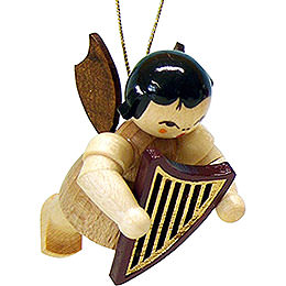 Tree ornament angel with lyre  -  natural  -  floating  -  5,5cm / 2.1inch