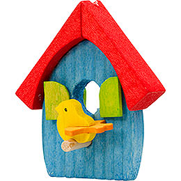 Tree ornament bird's house blue and red  -  5cm / 2inch