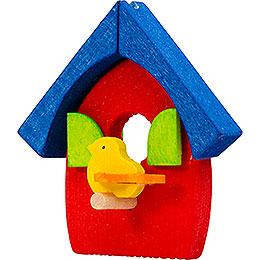 Tree ornament bird's house red and blue  -  5cm / 2inch