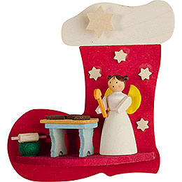 Tree ornament boot - angel with bakery  -  7cm / 2.8inch