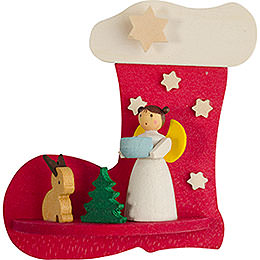 Tree ornament boot - angel with bunny  -  7cm / 2.8inch