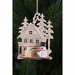 Tree ornament  -  forest house with mini snowman, set of three  -  9x8cm / 3.5x3.inch