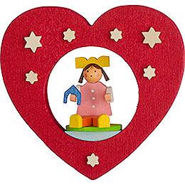 Tree ornament heart with doll  -  7cm / 2.8inch