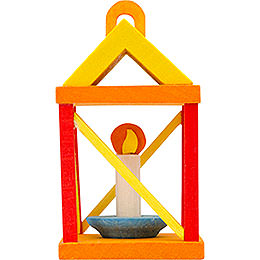 Tree ornament lantern, yellow and red  -  5cm / 2inch