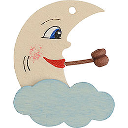 Tree ornament moon white and blue  -  5cm / 2inch