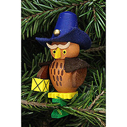Tree ornament owl nightwatchman on clip  -  5,3x7,3cm / 2.1x2.9inch