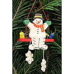 Tree ornament snowman on swing  -  5,1x5,1cm / 2x2inch