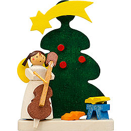 Tree ornament tree angel with cello  -  6cm / 2.4inch