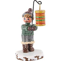 Winterkinder Junge mit rundem Lampion  -  10cm