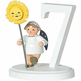 """Zahl """"7"""" mit Engel  -  7cm"""